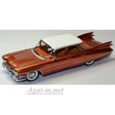 Масштабная модель Cadillac Devile 4 windows 1959 золотистого цвета с белой крышей