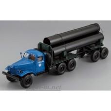 115704-ДИП ЗИЛ-157К/ТВ-5 тягач с роспуском для перевозки труб, синяя кабина