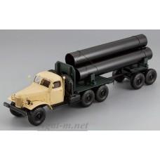 115705-ДИП ЗИЛ-157К/ТВ-5 тягач с роспуском для перевозки труб, бежевая кабина