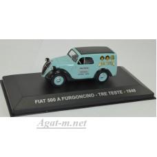 """047AF-АТЛ FIAT 500 A FURGONCINO """"TRE TESTE"""" 1948 Light Blue/Black"""