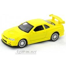 Масштабная модель Nissan Skyline GT-R R34, желтый