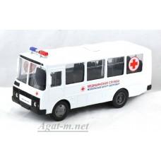 Масштабная модель ПАЗ-32053 автобус медицинская служба