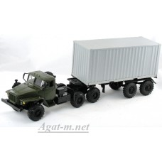 2013-ЭЛ УРАЛ 44202 тягач контейнеровоз, хаки/серый