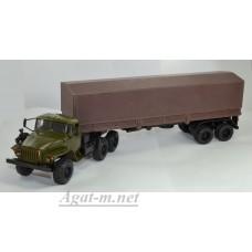 УРАЛ 44202 с полуприцепом и тентом, хаки/коричневый