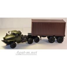 2013-1-ЭЛ УРАЛ 44202 тягач контейнеровоз, хаки/коричневый