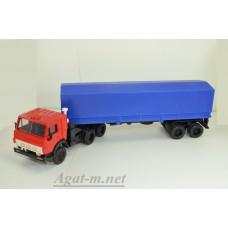 2071-1-ЭЛ Камский 5410 тягач с полуприцепом с тентом, красный/синий