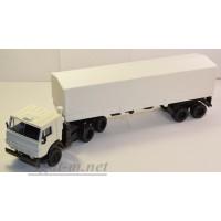 2071-3-ЭЛ Камский 5410 тягач с полуприцепом с тентом, белый