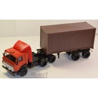 2073-2-ЭЛ Камский 5410 тягач контейнеровоз, красный/коричневый