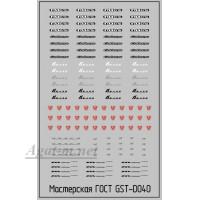 040DK-ГСТ Набор декалей Шильдики для автомобилей Горький, 50Х70