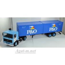 """006TTR-IX VOLVO F10 c полуприцепом-контейнеровозом и 20-футовыми контейнерами """"P & O"""" 1983 Blue"""
