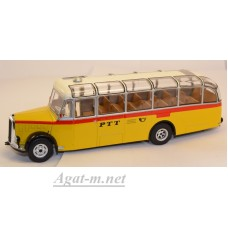 "003BUS-IX Автобус SAURER L4C ""PTT"" (Почта Швейцарии) 1959 Yellow/White"