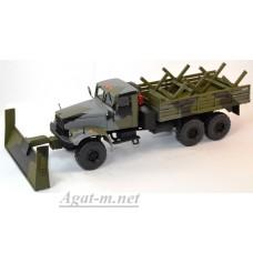 КрАЗ-255 грузовик саперный со скребком, камуфляж хаки