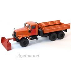 КрАЗ-255 грузовик снегоуборочный, оранжевый
