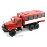 34008-КРЗ КрАЗ-255 автобусы вахтовые, красный/белый