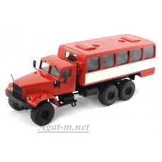 КрАЗ-255 автобусы вахтовые, красный/белый