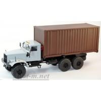 34018-КРЗ КрАЗ-255 контейнеровоз, серый/коричневый