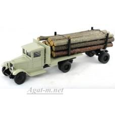 130-ЛОМ ЗИС-5 лесовоз с роспуском и лесом, бежевый
