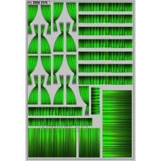 0174DKM-МПФ Набор декалей Шторки для Ikarus 256, зеленый (100х140)