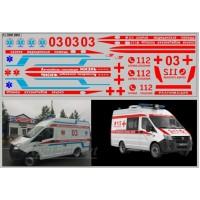 0661DKM-МПФ Набор декалей Газель некст Скорая помощь вариант 3 (200х70)