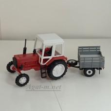 160008-МЛП Трактор МТЗ-82 пластик, красный/белый с прицепом сельхозник без тента