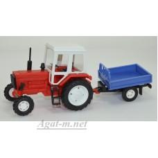 160009-МЛП Трактор МТЗ-82 пластик, красный с одноосным прицепом без тента