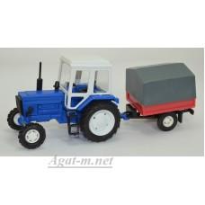 160011-МЛП Трактор МТЗ-82 пластик, синий с одноосным прицепом с тентом