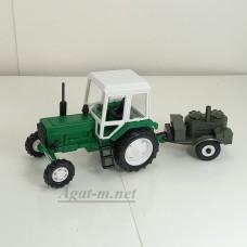 160012-МЛП Трактор МТЗ-82 пластик, зеленый/белый с прицепом полевая кухня