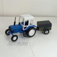 160013-МЛП Трактор МТЗ-82 пластик, зеленый/белый с прицепом - 8109
