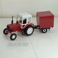 160016-МЛП Трактор МТЗ-82 пластик, красный/белый с прицепом красная будка