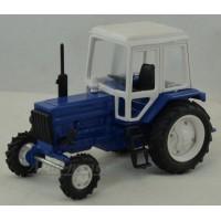 160100-1-МЛП Трактор МТЗ-82 металл, кабина пластик, бело-синий