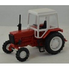 Масштабная модель Трактор МТЗ-82 металл, кабина пластик, бело-красный