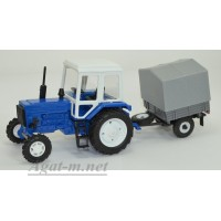 160200-МЛП Трактор МТЗ-82 металл, синий с прицепом сельхозник с тентом