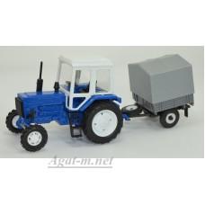 Масштабная модель Трактор МТЗ-82 металл, синий с прицепом сельхозник с тентом