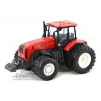 """160321-МЛП Трактор МТЗ-3522 """"МТЗ-ЕлАЗ 8-ми колесный металл, красный белые диски"""