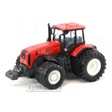 """Масштабная модель Трактор МТЗ-3522 """"МТЗ-ЕлАЗ 8-ми колесный металл, красный белые диски"""