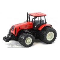 """160322-МЛП Трактор МТЗ-3522 """"МТЗ-ЕлАЗ 8-ми колесный металл, красный серые диски"""