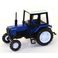 """160362-МЛП Трактор МТЗ-82 металл """"Люкс-2"""" синий с белой кабиной"""