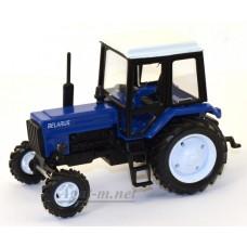 """Масштабная модель Трактор МТЗ-82 металл """"Люкс-2"""" синий с белой кабиной"""