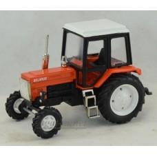 """Масштабная модель Трактор МТЗ-82 металл """"Люкс-2"""" оранжевый с белой кабиной"""