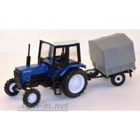 """160371-МЛП Трактор МТЗ-82 """"Люкс-2"""" c прицепом сельхозник с тентом, синий"""