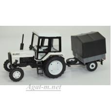 """160377-МЛП Трактор МТЗ-82 """"Люкс-2"""" c прицепом сельхозник с тентом, белый"""
