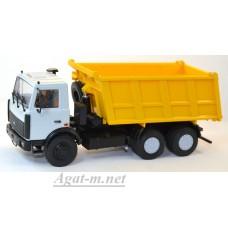 10041-АИСТ МАЗ-5516 самосвал серый/желтый