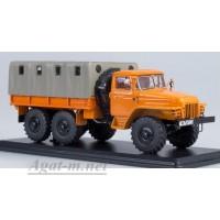 1104-ССМ УРАЛ-375Д бортовой с тентом, оранжевый