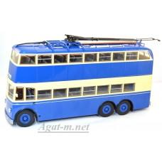5/2А-УЛТ ЯТБ-3 троллейбус двухэтажный, двухдверный 1938г., синий/бежевый
