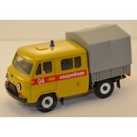 10016-1-УСР УАЗ-39094 Фермер с тентом аварийная служба, желтый
