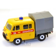 10016-3-УСР УАЗ-39094 Фермер с тентом аварийная служба, желтый, таблетка