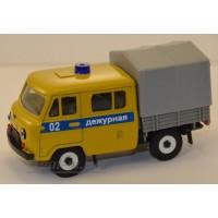 10034-УСР УАЗ-39094 Фермер с тентом  милиция дежурная желтый, таблетка