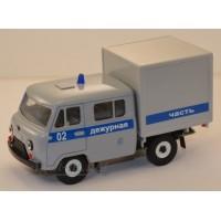 10035-УСР УАЗ-39094 Фермер с будкой  милиция дежурная, серый