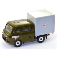 10049-1-УСР УАЗ-39094 Фермер с серой будкой медслужба, зеленый