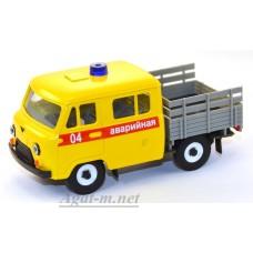 12009-1-УСР УАЗ-39094 Фермер без тента аварийная служба (пластик крашенный), желтый